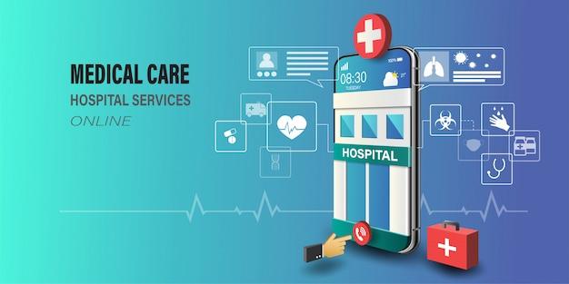 Smartphone met ziekenhuis voortbouwend op scherm, arts consult online, gezondheidszorg technologie concept.