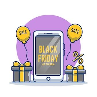 Smartphone met zwarte vrijdag op het scherm en doos cartoon afbeelding
