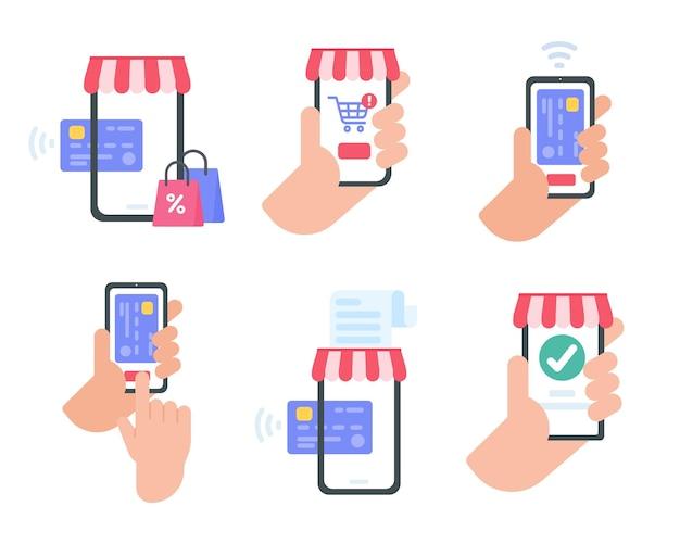 Smartphone mobiel met rode luifel en boodschappentassen online winkelconcept Premium Vector