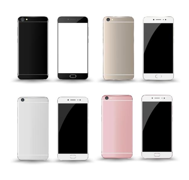 Smartphone mockup voor en achter.