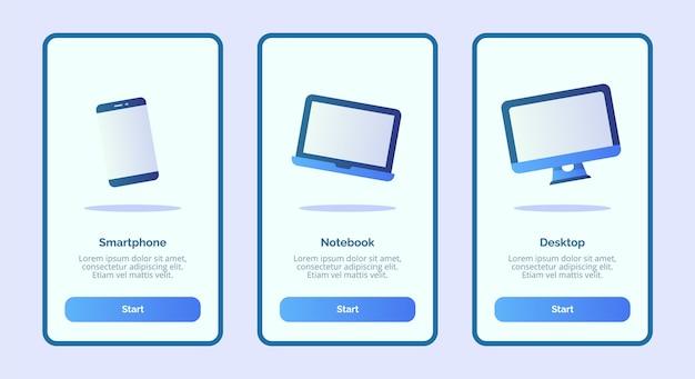 Smartphone notebook desktop voor mobiele apps sjabloon banner