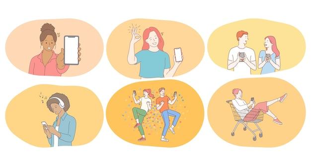 Smartphone, online communicatie, chatten concept.