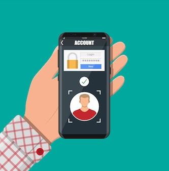 Smartphone ontgrendeld door gezichtsherkenning