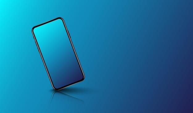 Smartphone op gladde donkerblauwe achtergrond, futuristisch technologieontwerp