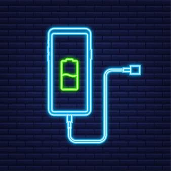 Smartphone-opladeradapter en stopcontact, melding batterij bijna leeg. neon icoon. vector illustratie.