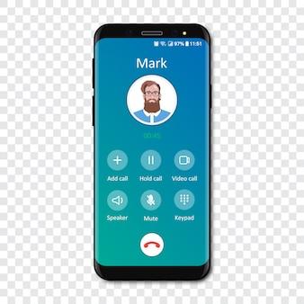 Smartphone-oproep app-interfacemalplaatje op transparant. binnenkomend telefoongesprek .