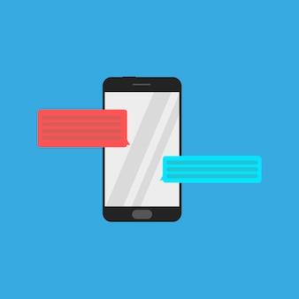Smartphone-pictogram met praatjebellen
