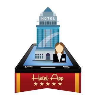 Smartphone-receptioniste en hotel met digitaal appsontwerp