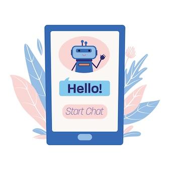 Smartphone scherm met schattige grappige bot illustratie