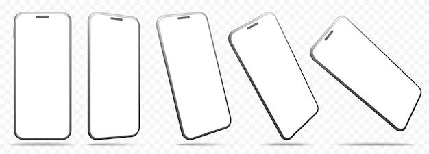 Smartphone-schermen geïsoleerd op transparante achtergrond