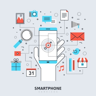 Smartphone services concept in stijl