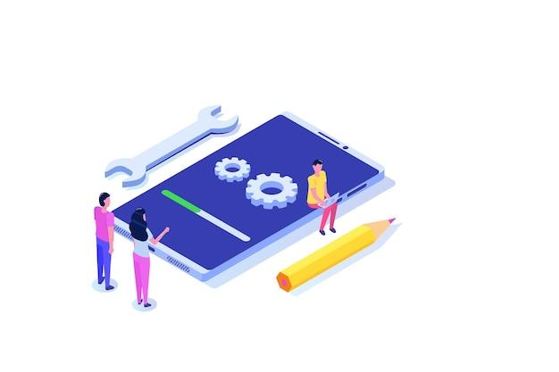 Smartphone-systeemupdate vlakke stijl concept