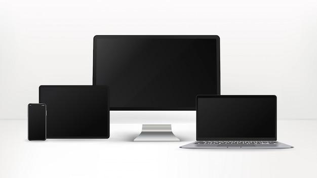 Smartphone, tablet, personal computer, laptop geïsoleerd op een witte achtergrond. realistische en gedetailleerde apparaten