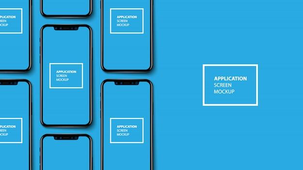 Smartphone-toepassingsscherm op blauwe baclground