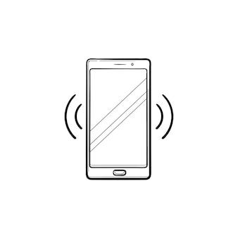 Smartphone trillende hand getrokken schets doodle pictogram. mobiele telefoontechnologie, inkomend gesprek en belconcept. schets vectorillustratie voor print, web, mobiel en infographics op witte achtergrond.