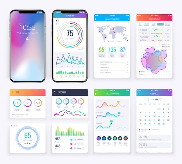 Smartphone-ui met gegevens bedrijfsgrafieken voor mobiele app wordt geplaatst die