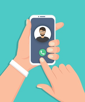Smartphone van de handholding met inkomende oproep in een vlak ontwerp