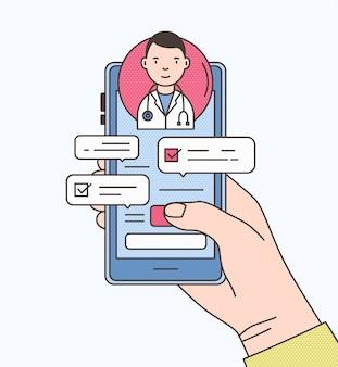 Smartphone van de handholding met internet-praatje met arts, therapeut of arts op het scherm. online medisch advies of consultatiedienst. kleurrijke illustratie in moderne lijn kunststijl.