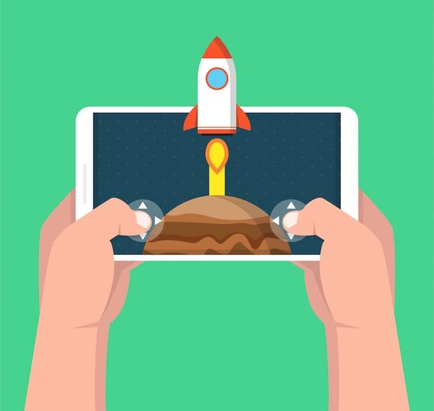 Smartphone van de mensenholding en het spelen in raketspel