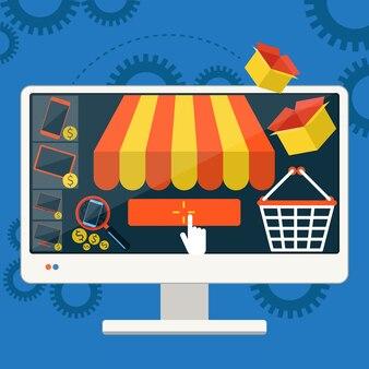 Smartphone van het internet het winkelen concept met het afbaarden van het kopen van producten via online van de de elektronische handelideeën van de winkelopslag van de de elektronische handelingssymbolen de verkoopelementen