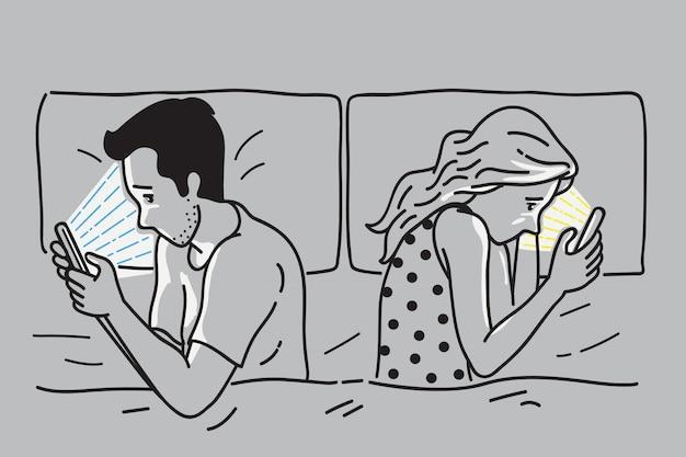 Smartphone-verslaving op bed