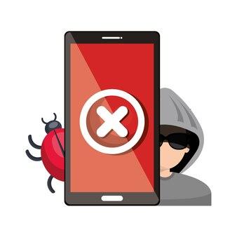 Smartphone virus hacker alert ontwerp