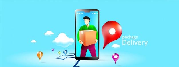 Smartphone voor online bezorgdiensten. express levering mobiel concept per telefoon, levering pakket aan deur door e-commerce bestelling. vector illustratie