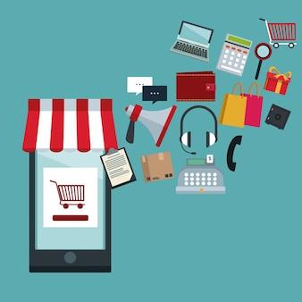 Smartphone winkel en elementen pictogrammen online winkelen