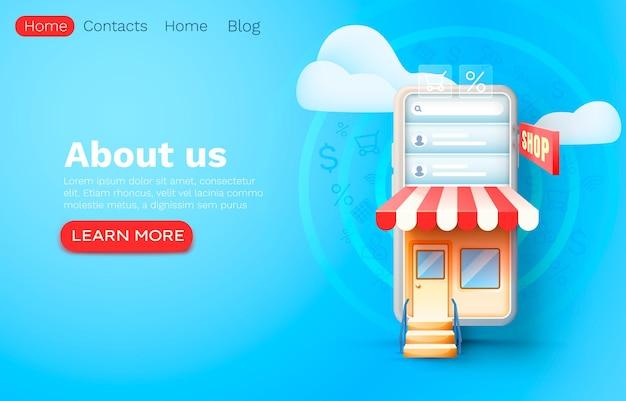 Smartphone-winkelapplicatie, webmarktbanner, online verkoop.