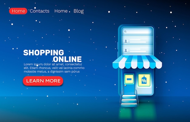 Smartphone winkelen online applicatie, webmarktbanner, verkoopwinkel.