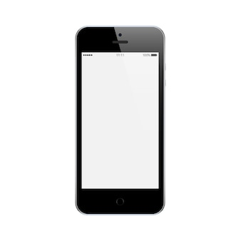 Smartphone zwarte kleur met leeg aanraakscherm geïsoleerd op een witte achtergrond. mockup van realistische en gedetailleerde mobiele telefoon