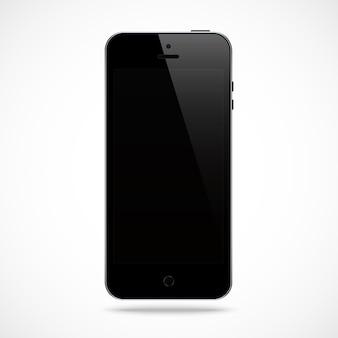 Smartphone zwarte kleur met zwarte touchscreen-saver op wit.