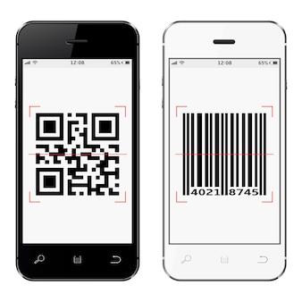 Smartphones met qr en streepjescode op scherm geïsoleerd op een witte achtergrond