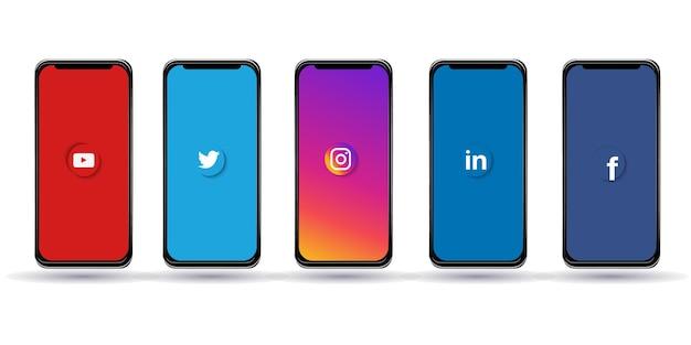 Smartphones met verschillende sociale media, messenger-logo's: facebook, instagram, twitter, linkedin, telegram