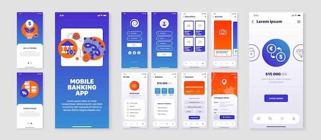 Smartphoneschermen die zijn ingesteld met de gebruikersinterface van de app voor mobiel bankieren, geïsoleerd plat