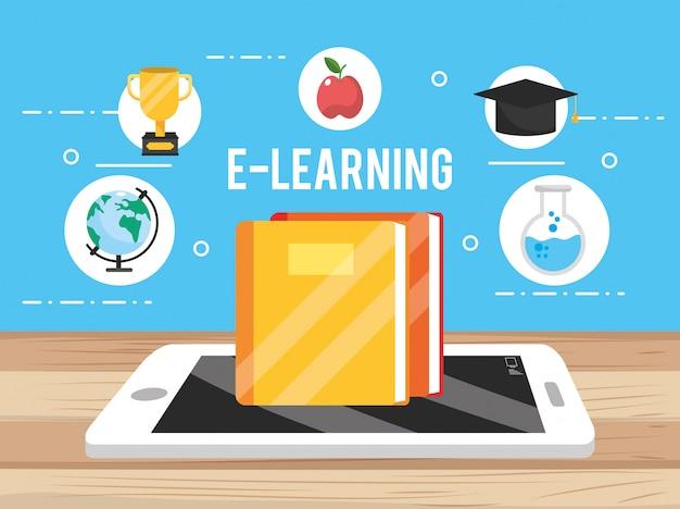 Smartphonetechnologie met onderwijsboek en appel