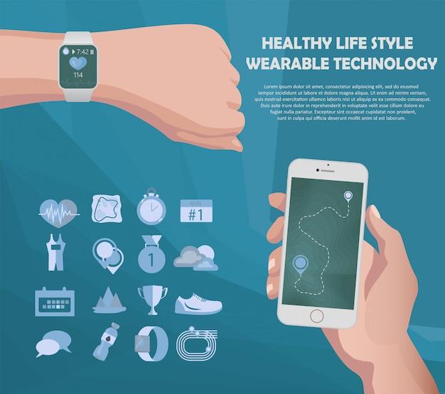 Smartwatch en smartphone-fitness