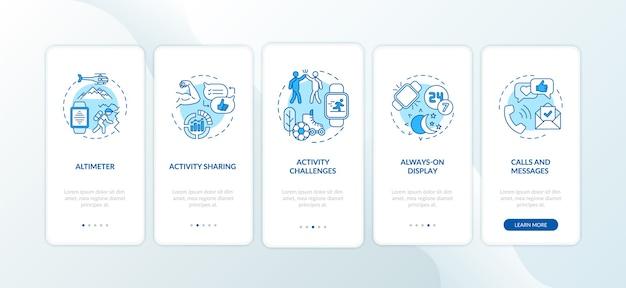 Smartwatch-functies onboarding mobiele app-paginascherm met concepten