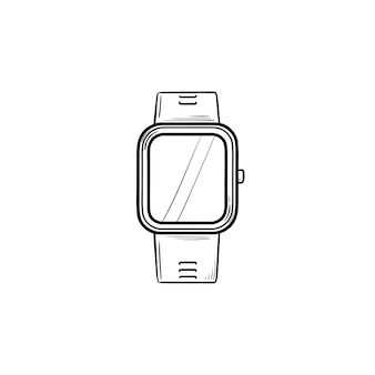 Smartwatch hand getrokken schets doodle pictogram. slimme accessoire en digitaal horloge, draadloos gadgetconcept. schets vectorillustratie voor print, web, mobiel en infographics op witte achtergrond.