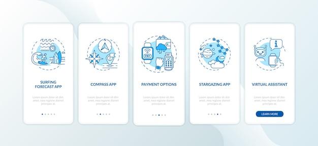 Smartwatch-mogelijkheden voor het onboarding van het scherm van de mobiele app met concepten