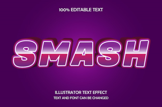 Smash, bewerkbaar teksteffect bollingseffect