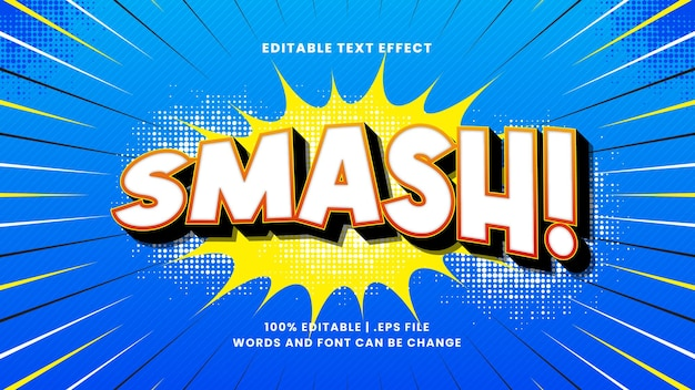 Smash komisch bewerkbaar teksteffect met cartoontekststijl