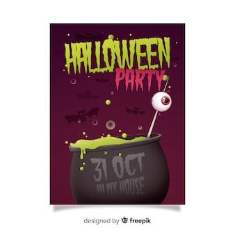 Smeltende pot halloween partij folder sjabloon