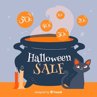 Smeltende pot met verkoopaanbiedingen halloween