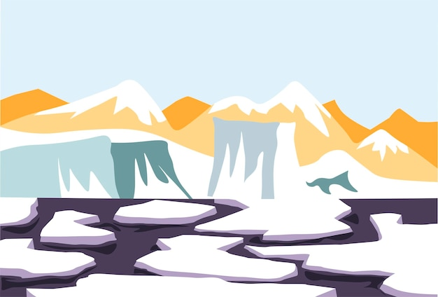 Smeltende sneeuw op waterijs en gletsjerdooi vectorbeelden