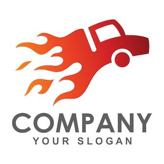 Smeulende vrachtwagen logo