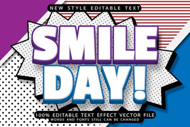 Smile day bewerkbaar teksteffect reliëf komische stijl