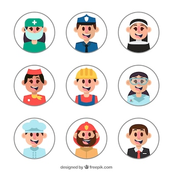 Smiley avatars met verschillende beroepen
