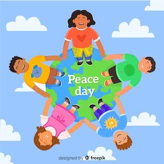 Smiley cartoon kinderen verenigd op dag van de vrede