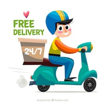Smiley delivery man met mooie stijl